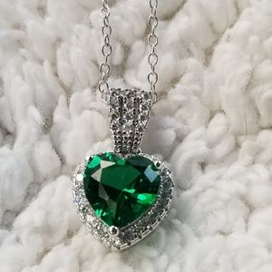 Jewelry - Sterling Silver Emerald Heart w/Clear CZ Necklace